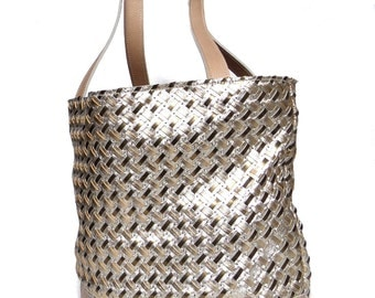 Gold Beige leather bag braided leather