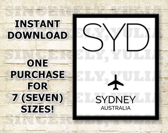 SYD Sydney Airport Code Poster. International Airport Code. Wall Art Print. Sign. Digital Printable. You Print. Purchase 1 Get 7 Sizes.