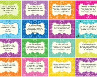 BAHA'I CHILDREN'S Classes PRINTABLE Set of 24 Cards for Children - Memory Cards / Ruhi 3 Class Quotes / Class Grade 1 Unit 1 (Ruhi 3)