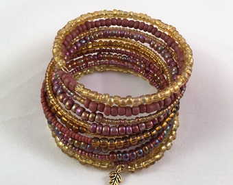 Gold, purple, and maroon memory wire bracelet