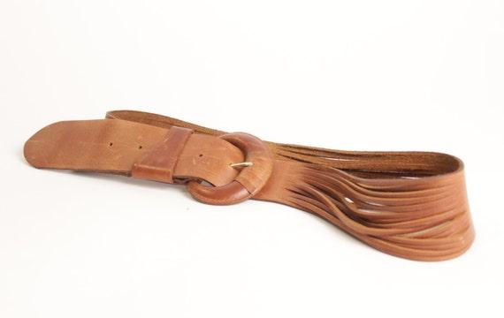 Vintage brown wide slashed leather belt size M womens
