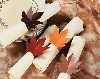 Maple Leaf Fall Autumn Paper Napkin Rings - Pkg 48 Mixed Colors