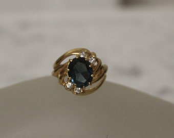 Blue Sapphire Ring  Size 5.5 Women's Vintage Ring Cluster Ring