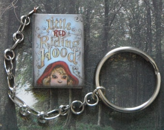 Red Riding Hood Book Keychain *reading,fairytale,key ring,bibliophiles,folk tale,Big Bad Wolf,Brothers Grimm,folklore,classic literature