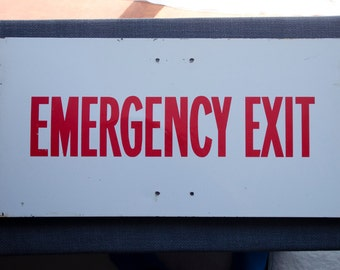 Vintage large metal Emergency Exit sign, 1950s, 1960s,