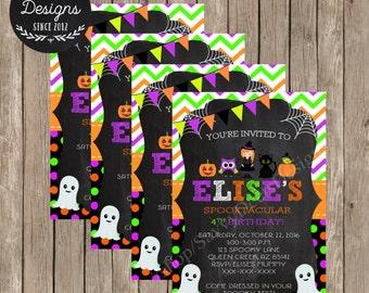 Halloween Birthday Invitation - Halloween Party Invitation - Chalkboard Invitation- Halloween Party - Halloween Birthday - DIY Printable