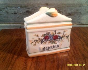 Vintage Porcelain Napkin Holder, Made in Japan, Cherries Napkin Holder, 50's Napkin Holder, Vintage Napkin Holder