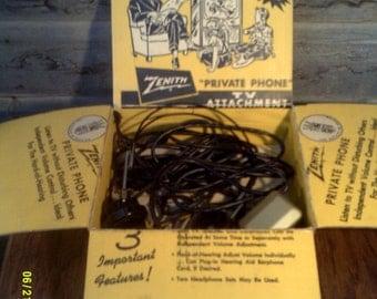 Vintage 1950's Zenith Private Phone TV Attachment, TV Earphones, Zenith TV Accessory, Vintage Tv Headphones, Zenith Private Phone