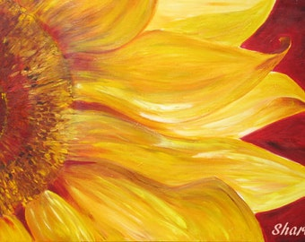 Sunflower canvas print  flower painting- yellow and red flower limited edition art print  - home decor- gift for wife