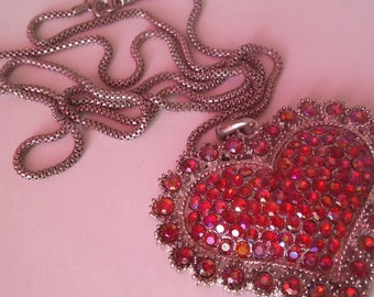 Big Silver Red Heart Necklace