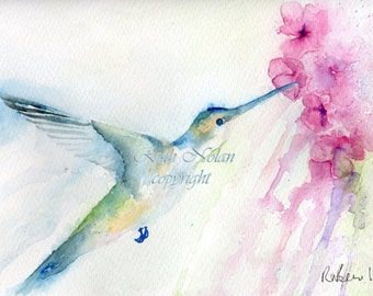 BLUE HUMMINGBIRD mounted watercolour print by Ruth Nolan