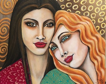 """FRIENDSHIP   (Copyrighted) Original acrylic mixed materials on board 12x12 x1.5"""""""