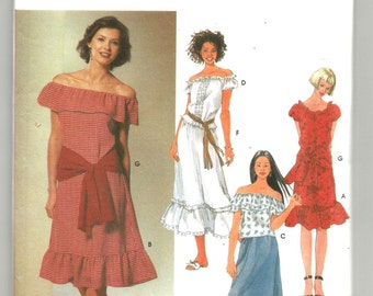 UNCUT 5678 Simplicity Sewing Pattern BoHo Elastic Top Dress Skirt Sash Size 4 6 8 10 Factory Folded
