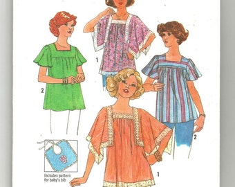 7852 Simplicity Sewing Pattern Maternity Pullover Tops Size Medium 12/14 Vintage 1970s 34B 36B