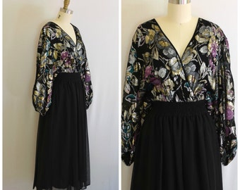 Diane Fres Boho Evening Dress/ Metallic Floral Party Dress/ NYE Midi 80s Dress/ Womens Size Medium to Large