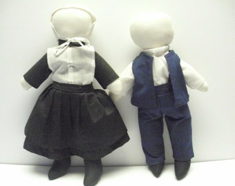 Vintage Pair of Amish Dolls,  Authenic Amish Doll,  Cloth Doll, Traditional Amish Doll, Handmade Rag Doll, Soft Sculpture Doll,