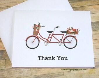 Tandem Bicycle Thank You Card Set, Wedding Thank You Cards, Red Tandem Bicycle Thank You Cards, Engagement Thank You Cards, Bike Cards
