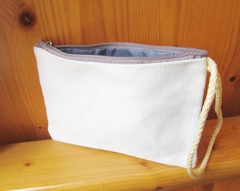 DIY Plain Blank White Canvas Wallet / Small Bag, Custom Size, Zipper Color & Bag Color, wholesale, ShineKidsCrafts