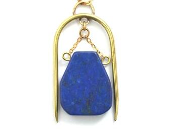 Handmade Lapis Lazuli and Brass Necklace / Gold Necklace / Gemstone Necklace