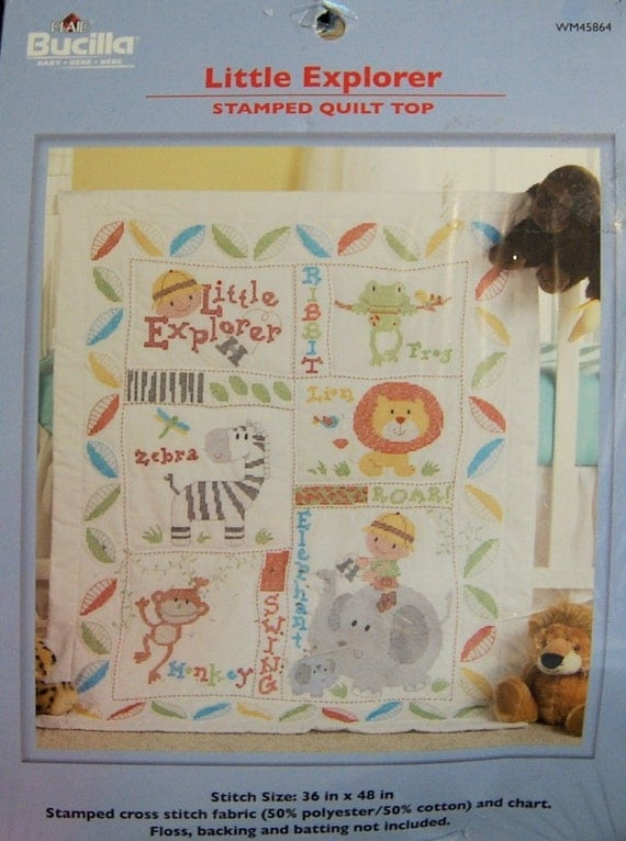 Little Explorer Baby Quilt Top Kit Stamped Cross Stitch