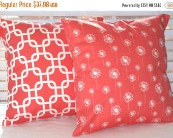"Pillow Covers, Pillows, Decorative Throw Pillows, Coral Pillows, Decorative Pillow, Beach Decor, Throw Pillow, Cushions,  2- 20"" x 20"""