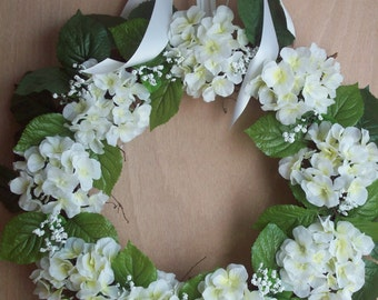 Hydrangea Wreath, Wedding Wreath, XL Spring Wreath, Summer Wreath, Door Wreath, Wall Wreath, Home Decor