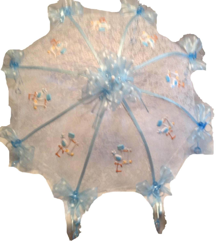 36 white lace baby shower umbrella blue storks