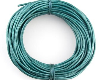 Turquoise Metallic Round Leather Cord 2mm 100 meters (109 yards)