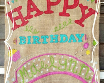 Happy Birthday Burlap Large Flag/Banner