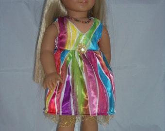 American Girl 18 inch doll Rainbow/Colorful Dress