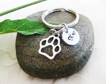 PAW PRINT KEYCHAIN -  initial charm shown is optional (see drop down box to add on initial charm) zipper pull, keyring