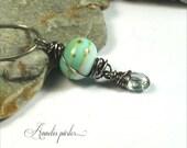 Handmade lampwork glass bead, gemstone topaz and sterling silver pendant, SRA, Artisan, Art glass by Anneli