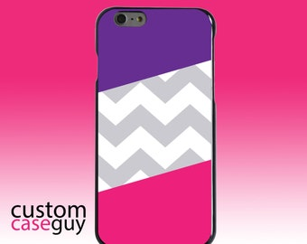 Hard Snap-On Case for Apple 5 5S SE 6 6S 7 Plus - CUSTOM Monogram - Any Colors - Purple Pink Block Grey Chevron