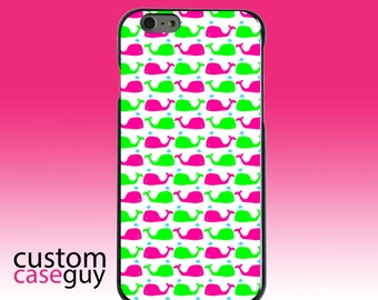Hard Snap-On Case for Apple 5 5S SE 6 6S 7 Plus - CUSTOM Monogram - Any Colors - Green Pink Cartoon Whales