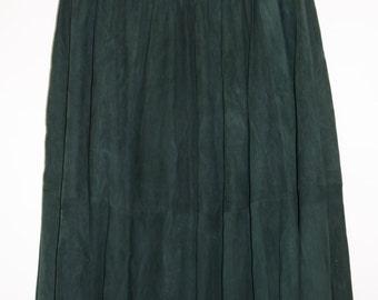 Vintage 80's Dark forest Green Long Full Leather Suede skirt Liz Harbosin Size M