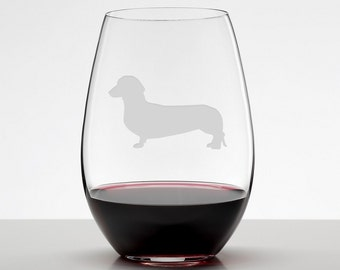 Wiener dog, Dachshund Etched Stemless Wineglass, Short haired Dachshund Wine Glass