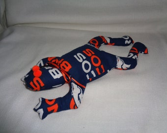 Hand Made Denver Broncos NFL Football Bean Bag Frog