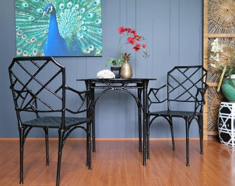 FAUX BAMBOO chairs and table set Chinoiserie Chippendale vintage Inside /Outside : Brown Jordan Calcutta