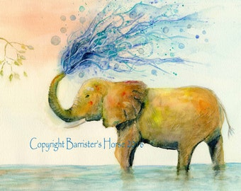 Elephant in Water, fine art, Giclee Watercolour Painting Print A4. Archival quality inks