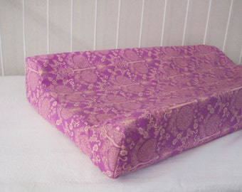 SALE! 30% OFF! Cream, Purple Damask Changing Pad Mat Cover