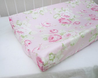 Antique Vintage Shabby Chic Roses Floral Pink  Changing Pad / Mat Cover
