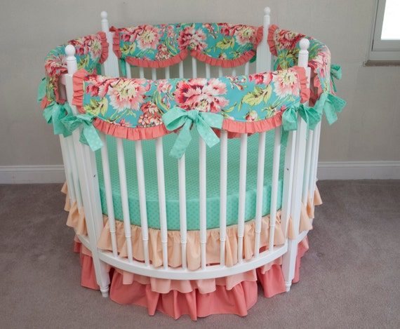 Floral Aqua Teal And Coral Baby Girl Round By Handmadebysasha