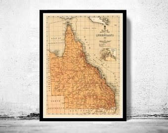Old Map of Queensland Australia 1939