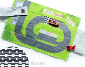 Racetrack Travel Car Mat | Car Play Mat - Navy Tomahawk Backing | Folding Car Mat | Kids Travel Activity