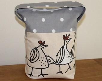 Fabric door stop, doorstop, lined door stopper, handmade door stop, funky chickens, grey spot