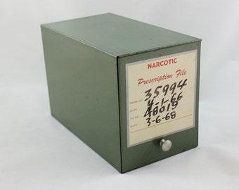 Vintage Pharmacy Prescription Metal File Box/Industrial