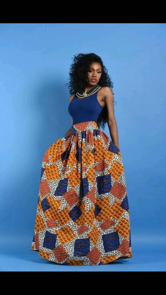 NEW Patchwork  African Print Maxi skirt