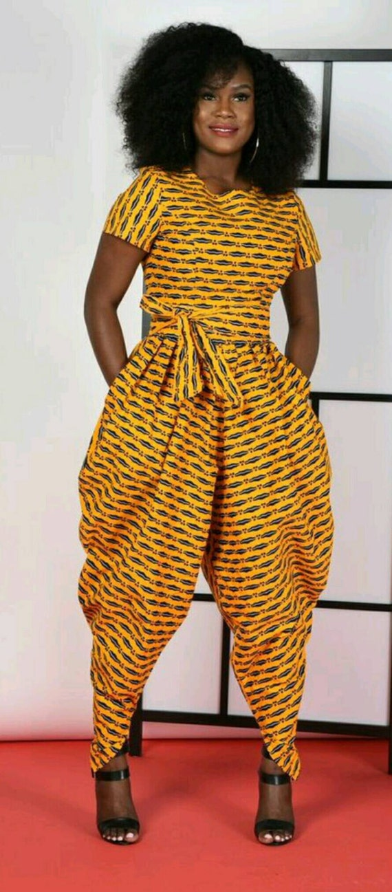 Yellow Harem Jumpsuit- African print clothing