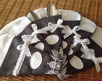 linen and lace cutlery pouch