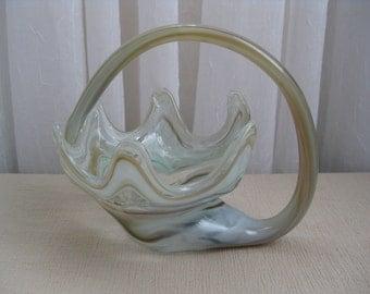Vintage Murano Swirl Beige Green Cornucopia Art Glass Handled Basket